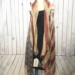 NWT Lightweight Americana Flag long duster vest